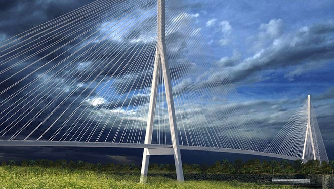 This artist's rendering shows what a cable-stayed bridge between Detroit and Windsor might look like.
