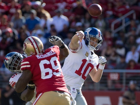 New York Giants quarterback Eli Manning (10) passes the football against San Francisco 49ers defensive tackle Tony McDaniel (69) during the first quarter at Levi's Stadium.