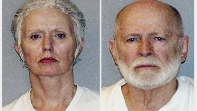 "FILE - This pair of file, June 23, 2011, booking photos provided by the U.S. Marshals Service shows Catherine Greig, left, and James ""Whitey"" Bulger, who were captured the previous day in Santa Monica, Calif. Greig, 69, Bulger's longtime girlfriend, had her electronic monitoring bracelet removed Thursday, July 23, 2020, after completing her federal prison sentence for helping Bulger elude authorities. Bulger was beaten to death in October 2018 by inmates while serving a life sentence for 11 murders at a West Virginia prison. He was 89."