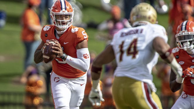 Clemson quarterback D.J. Uiagalelei (5) passes the ball during the first half against Boston College on Saturday.