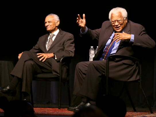 Civil Rights leader Rev. James Lawson, right, askes