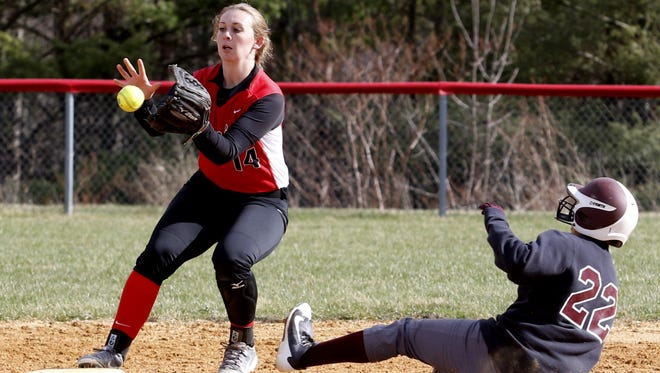 Corning second baseman Amber Edwards awaits the ball to force out Jefferson's Taneisha Richey during Saturday's Mid-State Athletic Confereence gane in Corning.