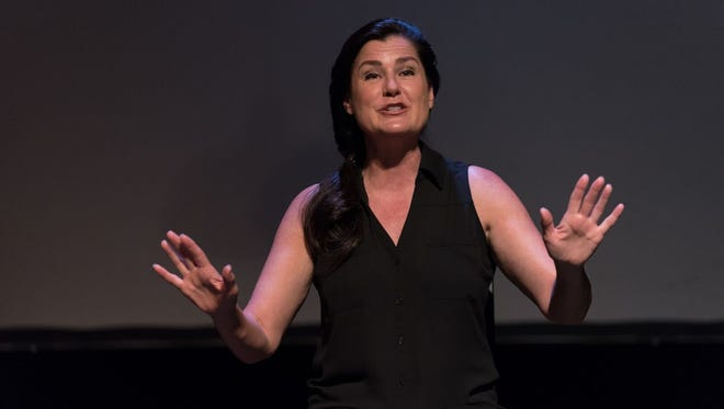 """Cathy Schenkelberg performs her solo show about her experience with Scientology, """"Squeeze My Cans,"""" four times this week with Rogue Theater."""