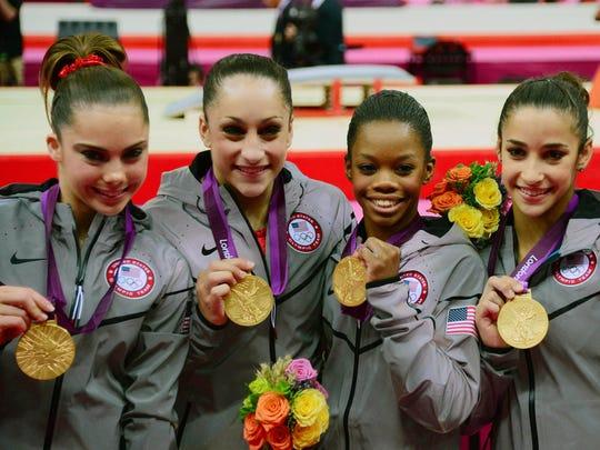 Gold medal gymnasts McKayla Maroney, Jordyn Wieber,
