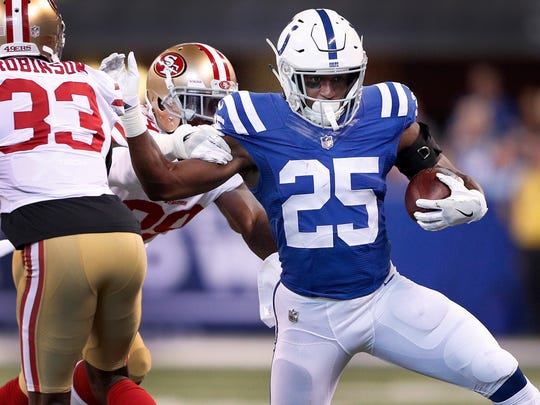 So far this season, 12 of Marlon Mack's 27 rushes have gone for no gain or less. Ten have lost yards. But eight have gone for 10 or more.