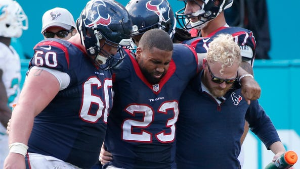 Houston Texans running back Arian Foster tore his Achilles