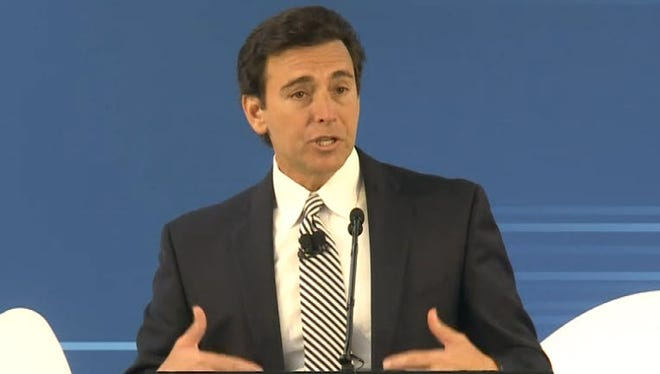 Mark Fields, President and CEO of Ford Motor Company address the media on Tuesday, Jan. 3, 2016.