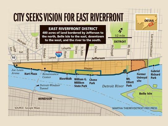 City seeks vision for east riverfront.