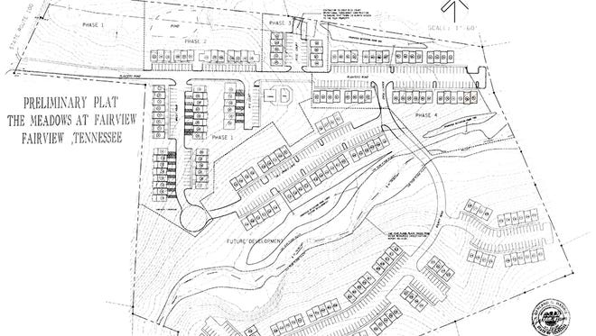 Preliminary Plat approved over a decade ago for four phases of townhomes to be built in The Meadows of Fairview. The Fairview Planning Commission will discuss a new plan for apartments on part of the undeveloped land.