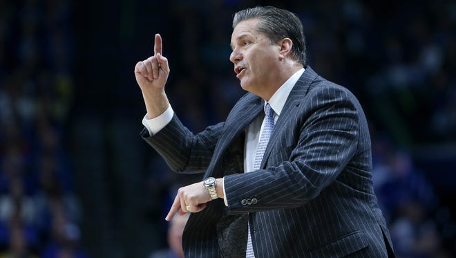 Kentucky Wildcats head coach John Calipari directs his team during the second half against the Auburn Tigers at Rupp Arena in Lexington, Ky. on Saturday, January 14, 2017.