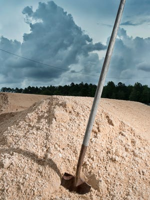 With an approaching storm, Escambia County is making sand available for sandbags at eight locations including here at the Escambia County Road Department located at 601 Highway 297-A in Cantonment on Friday, May 25, 2018.  The sand is available on a first come, first served basis. Residents must bring their own sandbags, that can be purchased at most local hardware or home improvement stores, and shovels.