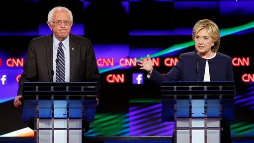 Hillary Rodham Clinton, right, speaks next to Vermont Sen. Bernie Sanders  during a CNN Democratic presidential debate. Sanders and Clinton split the six York-area delegates up for grabs in the April primary.