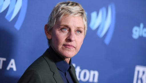 FILE - In this March 21, 2015, file photo, Ellen DeGeneres arrives at the 26th Annual GLAAD Media Awards held at the Beverly Hilton Hotel, in Beverly Hills, Calif. On the Feb. 23, 2017, episode of her chat show, DeGeneres handed out four-year scholarships paid for by Wal-Mart to the entire senior class of a New York City charter school.