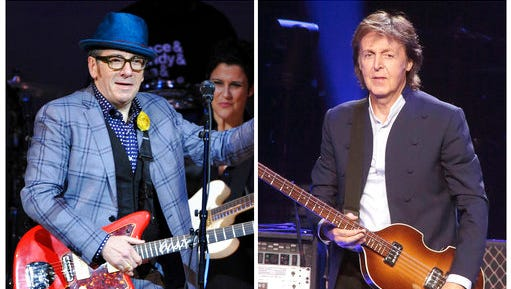 "In this combination photo, musicians Elvis Costello, left, performs at ""The Music of Prince"" tribute concert on March 7, 2013, in New York and Paul McCartney performs during his ""Out There Tour 2015"" on June 21, 2015, in Philadelphia. A new Paul McCartney reissue of ""Flowers in the Dirt"" offers two audio discs that are devoted to McCartney's songwriting collaboration with Elvis Costello in 1987 and 1988."