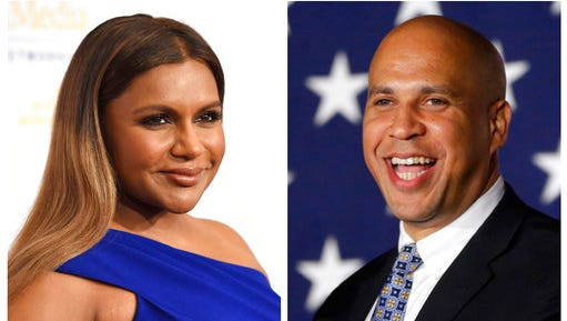 "FILE - In this combination photo, Mindy Kaling, left, arrives at the 41st annual Gracie Awards Gala on May 24, 2016, in Beverly Hills, Calif., and Sen. Cory Booker, D-N.J., addresses supporters during an election night victory gathering on Nov. 4, 2014  in Newark, N.J. Booker has invited Kaling to dinner in Newark after the actress' character on ""The Mindy Project,"" made a joke about Newark. Booker's spokesman says the date hasn't yet been scheduled."