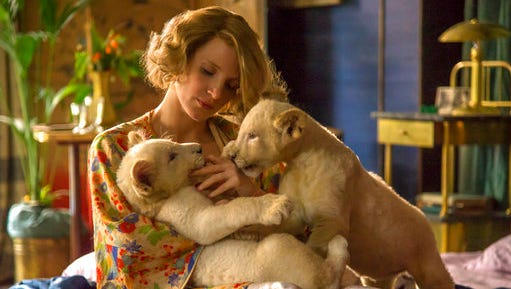 "This image released by Focus Features shows Jessica Chastain in a scene from ""The Zookeeper's Wife."""