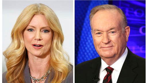 "In this combination photo, former Fox News contributor Wendy Walsh, left, appears at a news conference in the Woodland Hills section of Los Angeles on Monday, April 3, 2017, and Fox News personality Bill O'Reilly appears on the set of his show, ""The O'Reilly Factor"" on Oct. 1, 2015 in New York. Amid mounting allegations of sexual harassment by O'Reilly, parent 21st Century Fox is investigating one of those claims against its popular host. The investigation is in response to a complaint lodged last week by Wendy Walsh, who formerly was a regular guest on Fox News' ""The O'Reilly Factor."""