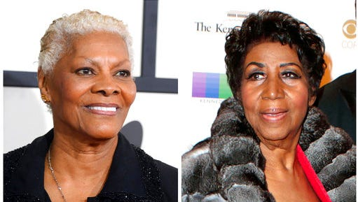 "FILE - In this combination photo, singer Dionne Warwick arrives at the 56th annual GRAMMY Awards on Jan. 26, 2014, in Los Angeles, left, and Aretha Franklin attends the 39th Annual Kennedy Center Honors on Dec. 4, 2016, in Washington, D.C. Franklin is accusing Warwick of making up a story that she was Whitney Houston's godmother.  At Houston's funeral, Warwick told funeral-goers that Franklin was present and introduced her, but then realized she wasn't in attendance.  Warwick said, """"She loves Whitney as if she were born to her. She is her godmother."" Franklin said she was suffering from swollen feet and had to skip the funeral. She felt the comment was damaging to her and planned to address it at a later date."