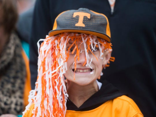 An excited Vol fan waits for the Vol Walk to begin