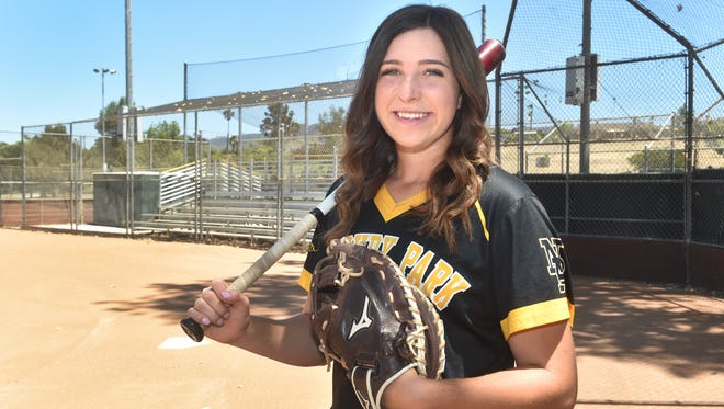 Serena Huchingson was a powerful hitter and a superb catcher to help Newbury Park High win its first CIF-Southern Section title.
