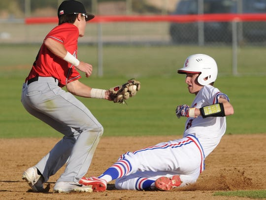 Lubbock Cooper second baseman Austin Vaught, left,