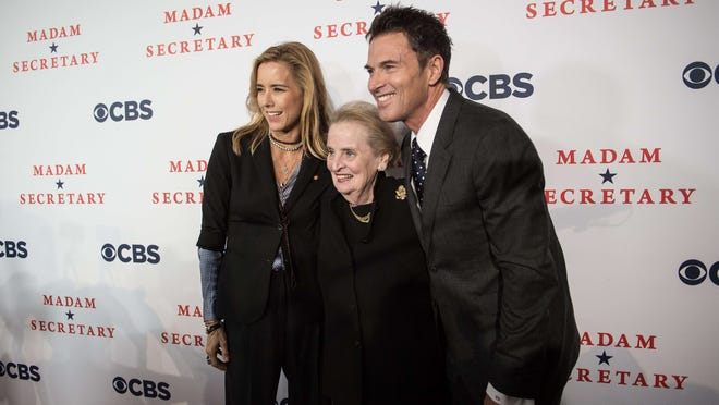 Former Secretary of State Madeleine Albright poses with actors Tea Leoni (left) and Tim Daly/Photo by Nicholas Kamm/AFP/Getty Images