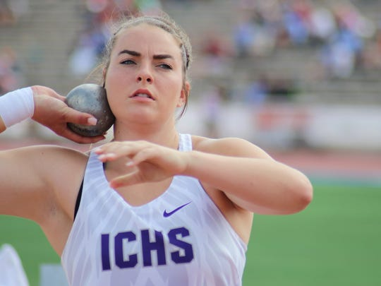 Irion County's Macy McNutt was third in the 2A girls shot put Friday, May 11, 2018, at the UIL State Track and Field Championships at Mike A. Myers Stadium in Austin.