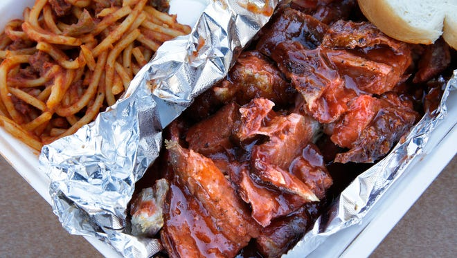One of the menu items at Mister Bar-B-Que, 5908 N. 76th St., is the rib tip dinner. It's shown with spaghetti on the side.
