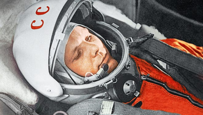 "Yuri Gagarin before a flight aboard the Vostok spacecraft. April 12, 1961. From the exhibit ""Cosmonauts: Birth of the Space Age."""