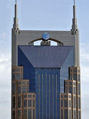 """A frontal view of the 333 Commerce building, which is also known as """"The Batman Building"""" or AT&T Building."""
