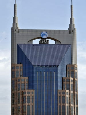"A frontal view of the 333 Commerce building, which is also known as ""The Batman Building"" or AT&T Building."