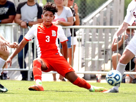 Blackman's Daniel Serrano (3) moves the ball down the