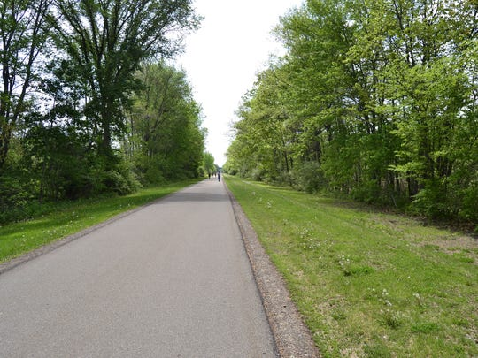 A view of the western portion of the Vestal Rail Trail that parallels the Vestal Parkway.