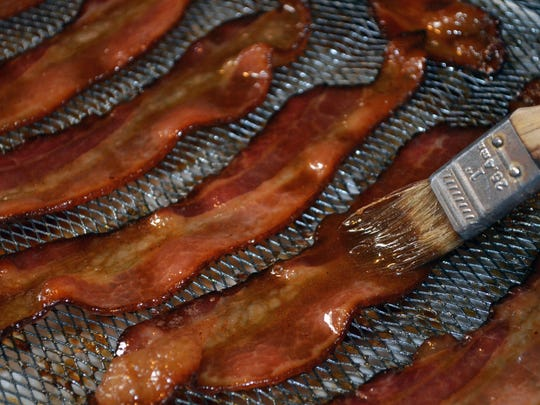 Beer Candied Bacon in the oven.