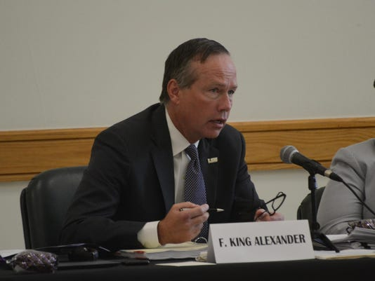 ANI LSU Board of Supervisors F. King Alexander, president of the LSU system and chancellor of Louisiana State University and A&M College, addresses a meeting of the LSU Board of Supervisors held Friday, June 19, 2015 at LSUA. This is the second time the bo