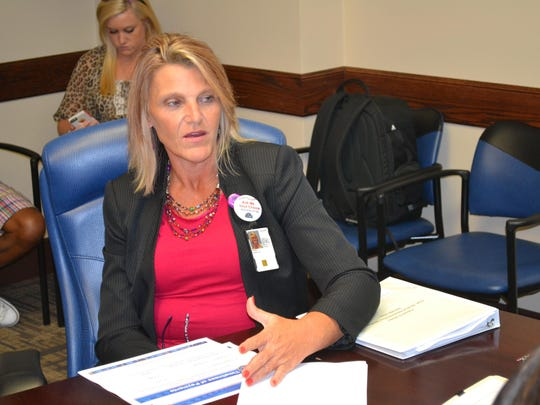 Pam Burke, chief, medical administration services, gives an overview of recruitment efforts for primary care physicians during a media roundtable session Monday at the Alexandria VA Medical Center.