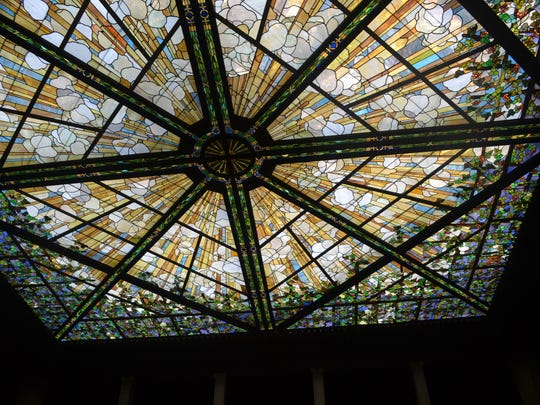 """The Tiffany-inspired stained-glass skylight of The Patio at Archmere Academy spawned the deceptively simple name of the interior courtyard that will be featured in Saturday's """"Historic Claymont Tour."""""""