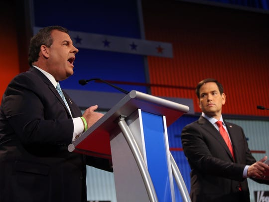Chris Christie (left) says the GOP presidential establishment lane to the nomination is now a New Hampshire battle between him and Marco Rubio, discounting the chances of Jeb Bush and John Kasich. Here Christie speaks during the first Republican presidential debate at the Quicken Loans Arena last Aug. 6 (AP Photo/Andrew Harnik)