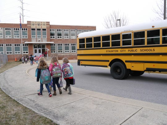 A City of Staunton school bus drops off students at Bessie Weller Elementary School on Thursday, March 3, 2016.