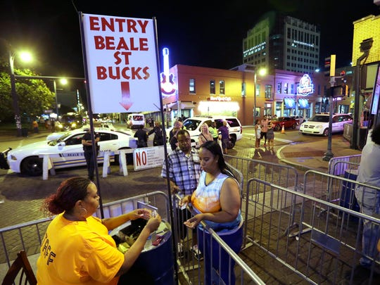 June 11, 2016-  11:36 PM Beale Street patrons pay $10 per person and receive a $7 voucher on the first night of Beale Street Bucks.