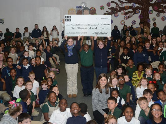 ANI Peabody Montessori Peabody Montessori fifth-graders Kelsie Nunnally (left); Tyree Moore and Lily Neal hold a check for $10,000 in the air after it was announced that Peabody Montessori received $10,000 from Code.org to buy technology to teach children