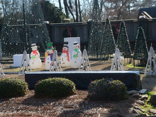 Some of the decorations that make up a lights display at the home of Walter and Jackie Monkhouse.