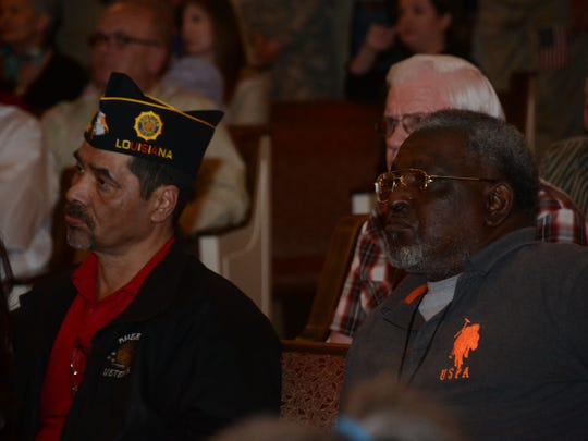 Pete Longoria (left), retired National Guardsman and the commander of American Legion Post 387 in New Llano, and Jerry Buckner, a retired Army first sergeant, attend the listening session at the First United Pentecostal Church in Leesville. They were among the community members who came out in support of Fort Polk Tuesday, March 3, 2015. Buckner said he went through basic training at Fort Polk and later in his career retired from there.