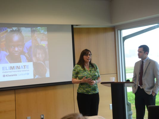ANI Kiwanis of Alexandria Donna Cafferata (left), the Kiwanis Club of Alexandria's Eliminate project coordinator, talks about the Eliminate Project and guest speaker Steve Hinson (right), Kiwanis International Foundation manager of major and planned giving