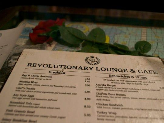 Revolutionary Lounge and Cafe offers vegan dishes, soy milk drinks and weekly food specials.