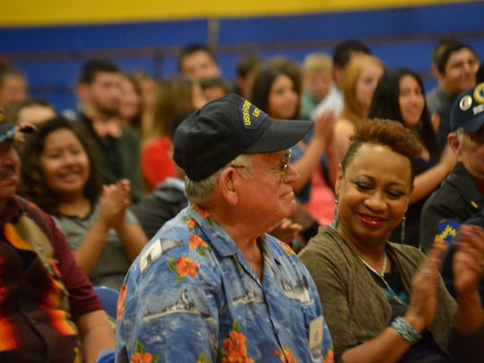 Willie Paradise, who lives in Oregon, is one of the veterans honored during Living History Day on Nov. 6, 2014, at Gervais High School. Paradise is National Vice Commander of the organization called Veterans of Underage Military Service. He joined the military when he was 16.