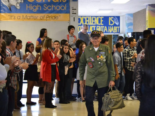 Richard Garza, an Army infantryman during the Vietnam War, is one of the veterans honored during Living History Day on Nov. 6, 2014, at Gervais High School.