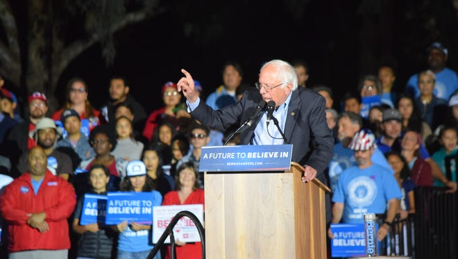 A crowd of about 5,000 listen to Democratic presidential hopeful Bernie Sanders speak during a rally at Kimball Park in National City on Saturday, May 21, 2016.
