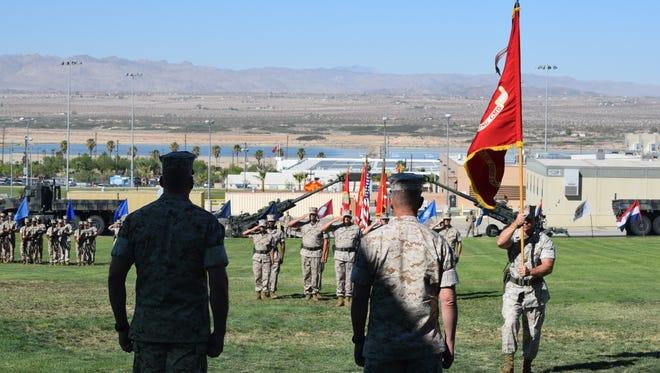 Change of command ceremony at Marine Corps Air Ground Combat Center, Twentynine Palms, July 14, 2016.