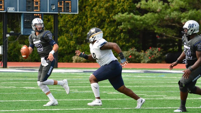 Cody Williams looks for a receiver Saturday during Monmouth's 35-7 loss to Charleston Southern